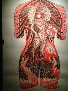 Projet de tatouage par Lynn Akura (née en 1976). France, 2013.