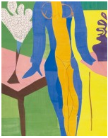 "Henri Matisse (français, 1869-1954). Zulma , début 1950. Gouache sur papier, coupé et collé. 93 11/16 x 52 3/8 ""(238 x 133 cm). Statens Museum for Kunst, Copenhague. © 2015 Succession H. Matisse / Artists Rights Society (ARS), New York"