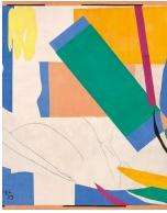 """Henri Matisse (français, 1869-1954). Mémoire de l'Océanie (Souvenir d'Océanie) , l'été 1952-début 1953. Gouache sur papier, coupé et collé, et fusain sur papier, marouflé sur toile. 112 x 112 7/8 """"(284,4 x 286,4 cm). Le Museum of Modern Art, New York. Mme Fonds Simon Guggenheim, 1968. © 2015 Succession H. Matisse / Artists Rights Society (ARS), New York"""