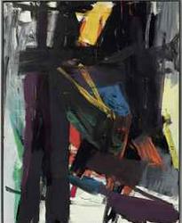 Franz Kline (1910-1962) King Oliver signée et datée «FRANZ KLINE 58 '(au verso) huile sur toile 99 x 77 1/2 po. (251,4 x 196,8 cm.) peint en 1958.