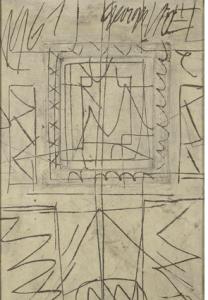 67 . Georges NOEL «CODICE TRES DECISIF», 1961 Huile et technique mixte sur toile signée en haut à droite, datée en haut à gauche, contresignée, titrée et datée au dos 100 × 65 cm Adj : 12 760€