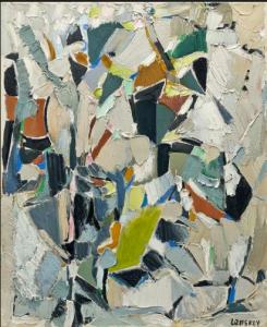 3 André LANSKOY (1902 - 1976) Estimation : 25 000 - 35 000 € Résultat : 62000 € Dans le ciel orageux, 1955 Huile sur toile, signée en bas à droite, datée 55 et titrée au dos 73 x 60 cm
