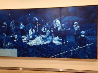 """Jacques Monory """"Pompéi"""" 1971 Huile sur toile"""
