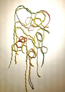 l'Entrelacé, 2015  Installation murale, cordes et fils de soie