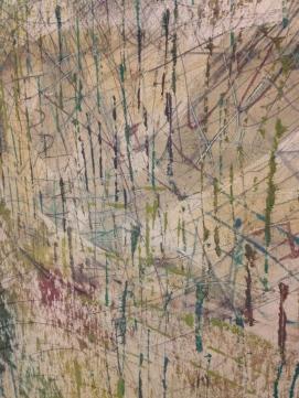 """""""La pluie Edo"""" 1990 Technique mixte sur toile. MAM ville de Paris Sson Georges Noël."""