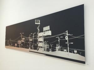 36RECYCLAB.  Sans Titre, 2011 Peinture noire mat sur plaque d'aluminium brossé (dibond) 300 x 60 cm