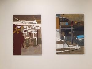 Arnaud Liard.  Nation RER, 2010 Acrylique sur toile 116 x 81 cm  et En remontant la rue Emeriau, 2010 Acrylique sur toile 116 x 81 cm