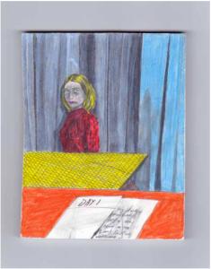 You look dreadful honey 2014 Colored pencils on plaster 11X14X1 cm Ref: 3 Unique