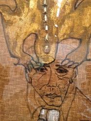 """Carol Rama (née en 1918) """"Portrait de Massimo Mila"""" 1984 Dents humaines, émail et marqueur sur toile de jute."""