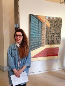 Amélie Bertrand devant sa toile Prix du jury 2015 Prix Sciences Po pour l'art contemporain - 6e édition