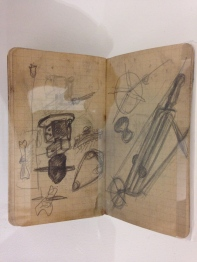 """Alberto Giacometti """"Dessin de l'objet surréaliste sur page de carnet"""""""