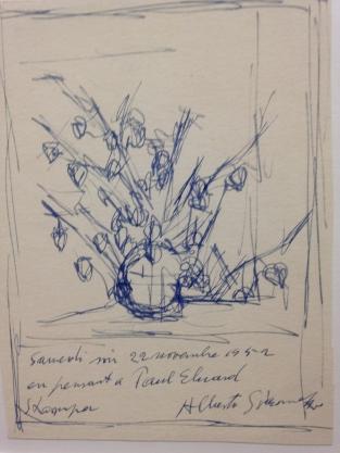 """Alberto Giacometti """"Bouquet de fleurs (en pensant à Paul Eluard)"""" 22 novembre 1952 crayon et encre sur papier"""