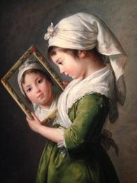 """Elisabeth Vigée Lebrun (1755-1842) """"Jeanne Julie Louise Lebrun se regardant dans un miroir"""" 1787 Coll. Part."""