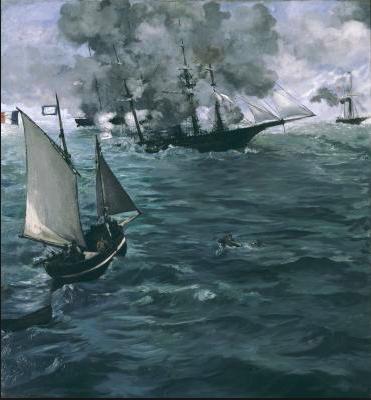 Manet Le combat naval, 1872- Acheté 5000 Francs de l'époque par Paul DR