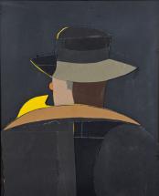 """N°98 Eduardo Arroyo (né en 1937) Fausto King Kong, 1976 Collage et papier de verre Signé, daté et titré au dos 78,5 × 64 cm """"J'ai inventé un lutteur que j'ai baptisé Faust King Kong. Comme pour tous les hommes forts, les coutures de ses vêtements explosent."""""""