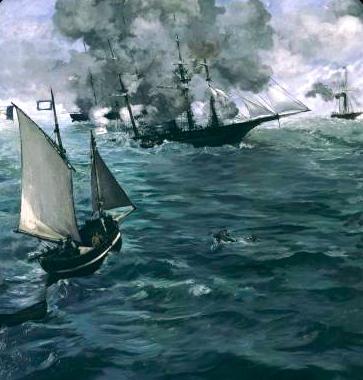 Manet Le combat de l'Alabama et du Kersaerge -bought 5000 Francs by Paul DR- C/ Philadelphia Museum of Art