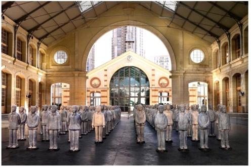 Prune Nourry, Terracotta Daughters, Collective Show Le CentQuatre, Paris, photograph by Hans Fonk