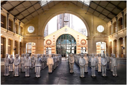Prune Nourry, Terracotta Daughters, Collective Show Le CentQuatre, Paris, photograph by Hans Fonk