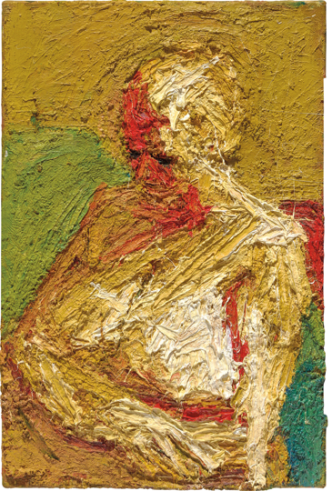 E.O.W., Half-length Nude 1958 Oil paint on board 762 x 508 mm Private collection courtesy of Eykyn Maclean, LP © Frank Auerbach, courtesy Marlborough Fine Art