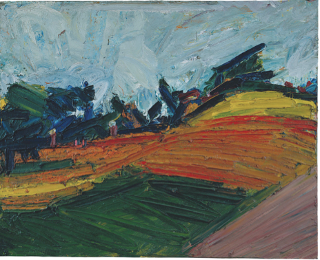 Primrose Hill 1971 Oil on board 1141 x 1393 x 110 mm Private collection, courtesy of Daniel Katz Gallery, London © Frank Auerbach, courtesy Marlborough Fine Art
