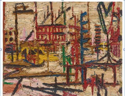 Mornington Crescent 1965 Oil paint on board 1016 x 1270 mm Private collection courtesy of Eykyn Maclean, LP © Frank Auerbach, courtesy Marlborough Fine Art