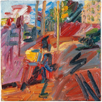 Hampstead Road, High Summer 2010 Oil paint on board 562 x 562 mm Property of a private trust © Frank Auerbach, courtesy Marlborough Fine Art