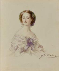 """n°200 . Franz Xaver Winterhalter """"Portrait de l'Impératrice Eugénie"""""""