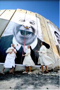 Nuns in Action, Separation Wall, Security Fence, Palestinian Side, Bethlehem , 2007 Photo JR
