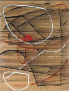 Serge Poliakoff COMPOSITION ABSTRAITE Circa 1946-1948 Fusain, craie et gouache sur papier 65 x 49 cm ©Cheim&Read ©Adagp