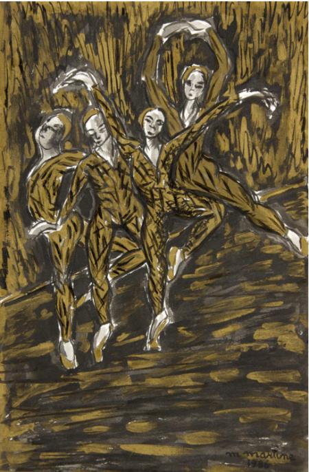 """Martine Martine """"Les danseuses dorées"""" 1986 Lavis d'encre de couleur 50 X 32 cm"""