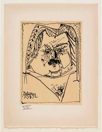 Pablo Picasso (1881-1973). Portrait lithographié de Balzac sur vélin d'Arches, 1957. Lithographie. Paris, Maison de Balzac. © Maison de Balzac / Roger-Viollet © Succession Picasso 2016