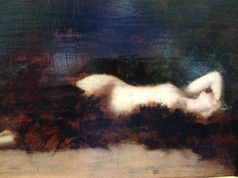 "Jean-Jacques Henner ""Mademoiselle Dodey ?"" Vers 1893 Huile sur carton"