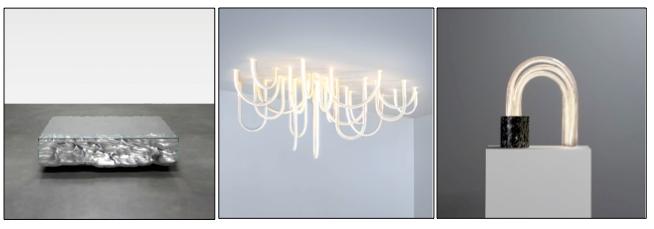 """Mathieu Lehanneur """"Liquid Aluminium""""table/Les cordes /Spring lamp courtesy Carpenters Workshop Gallery"""