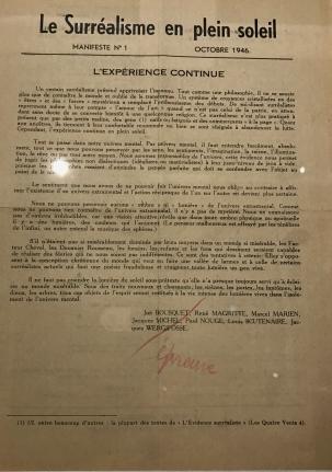 Collectif le surréalisme en plein soleil. N°1 Jette-Bruxelles, le Miroir infidèle - Octobre 1946.