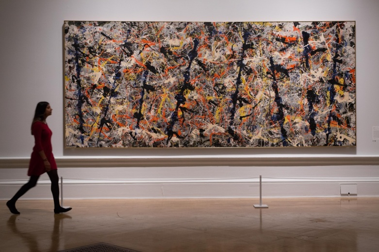 Jackson Pollock, Blue Poles, 1952. Oil, enamel and aluminium paint with glass on canvas, 212.1 x 488.9 cm. National Gallery of Australia, Canberra. Purchased 1973. Reproduced with kind permission from the Royal Academy. Photo. © David Parry.