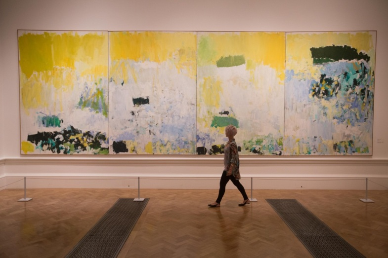 Joan Mitchell, Salut Tom, 1979. Oil on canvas, four panels, 280.5 x 802.6 cm overall. National Gallery of Art, Washington DC. Corcoran Collection. Reproduced with kind permission from the Royal Academy. Photo. © David Parry.
