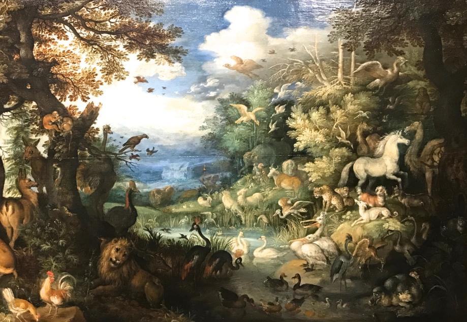 """Roelandt Savery """"Noé remerciant Dieu"""" Huile sur bois Signé"""