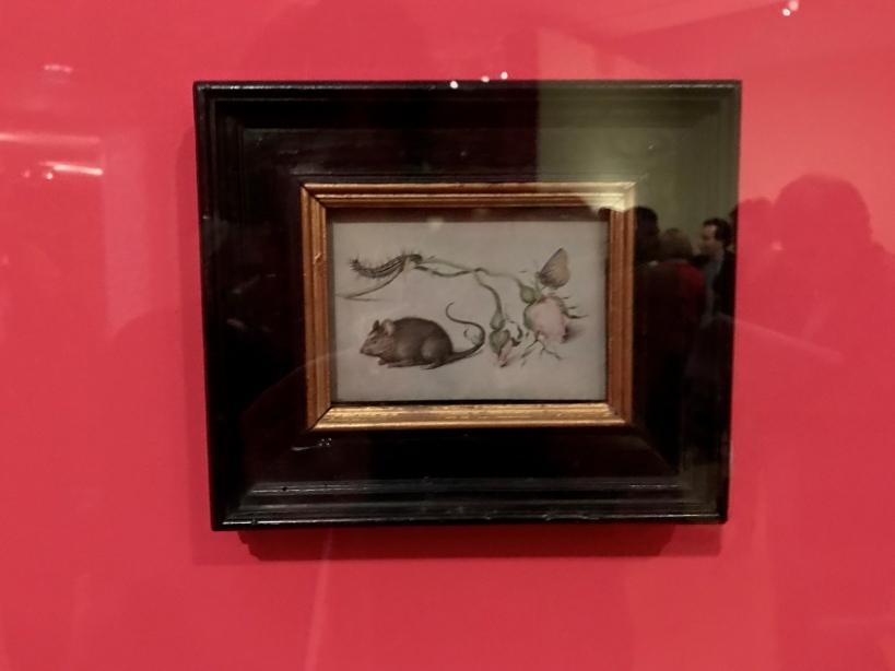 """Jan I Brueghel l'Ancien (1626-1679) """"Une souris et deux roses"""" Environ 1605 Huile sur cuivre"""