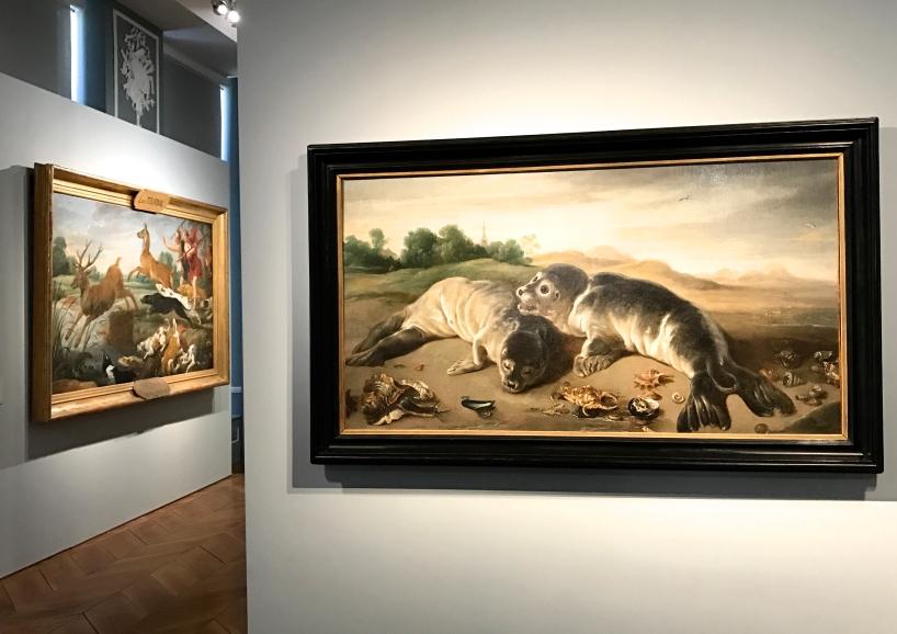 """Paul de Vos (ca1591/92 - 1678) """"Deux jeunes phoques sur un rivage"""" Huile sur toile 1650"""
