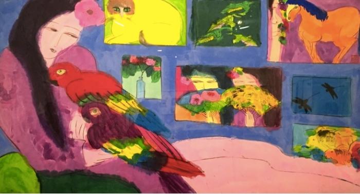 Walasse ting Sans titre (Femme au perroquet), 1980 Archives Pierre Alechinsky © The Estate of Walasse Ting/ADAGP, 2016/Photo Michel Nguyen