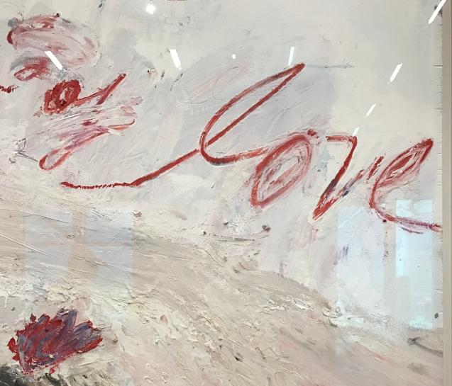 Wilder Shores of Love, 1985 Peinture industrielle, huile (bâton d'huile), crayon de couleur, mine de plomb sur panneau de bois 140 x 120 cm Collection particulière © Cy Twombly Foundation