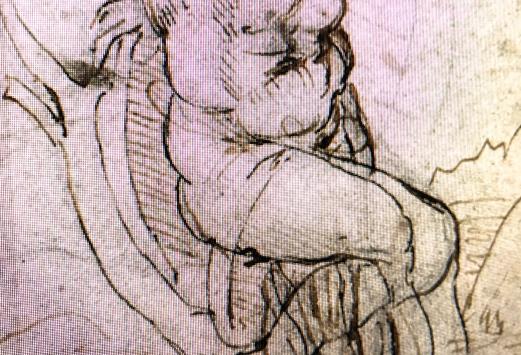 Détail montrant les hachures de gauche à droite et de haut en bas typiques d'un gaucher. On peut observer les repentirs encre noire.