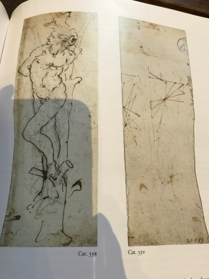 """Léonard de Vinci """"Saint Sébastien de trois quart lié à un arbre"""" N°35 et au dos schémas du catalogue du MET"""