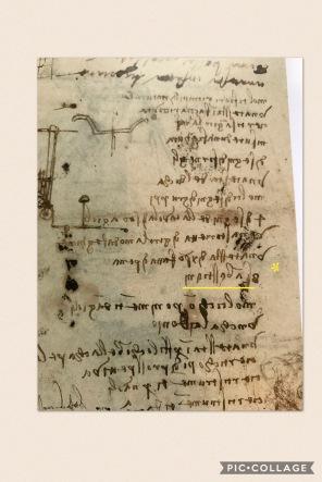 (*surligné en jaune) doc du Codex Atlanticus indiquant qu'il existe *huit études du Saint. Document du catalogue du MET
