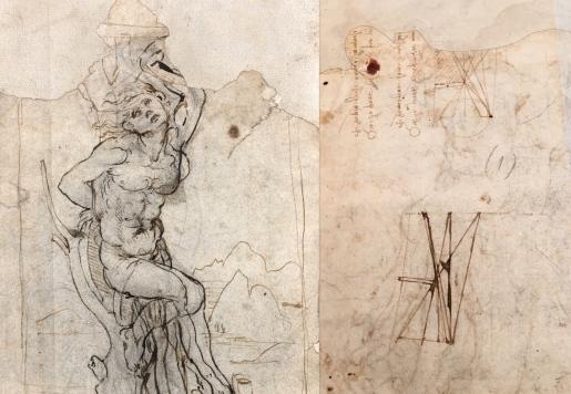 """Léonard de Vinci (Vinci 1452 - Cloux 1519) """"Etude de Saint Sébasien dans un paysage"""" Recto et verso du dessin avec écriture inversée et schémas. 19,3 X 13 cm Provenance : Coll particulière France"""