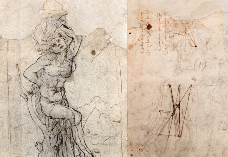 Leonardo da Vinci (Vinci 1452 – Cloux 1519) « Study of Saint Sebastian with landscape » Front and back of the drawing with inversed writing and diagrams. 19,3 x 13 cm – Provenance : special collection, France