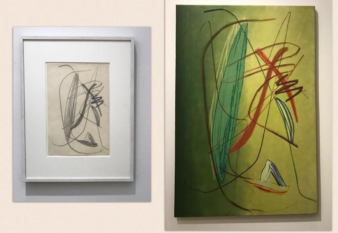 """Hans Hartung Sans titre, 1935 - Crayon sur papier """"T1937-14"""", 1937 Huile sur toile"""