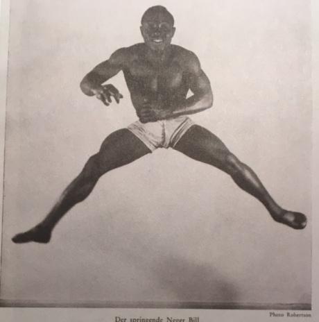 Reproduction d'un homme noir bondissant dans der Querschnitt Berlin 1 Oct 1929