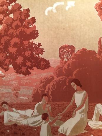 Détail d'un ensemble de toiles imprimées d'André Édouard Marty « La vie en plein air », circa 1920