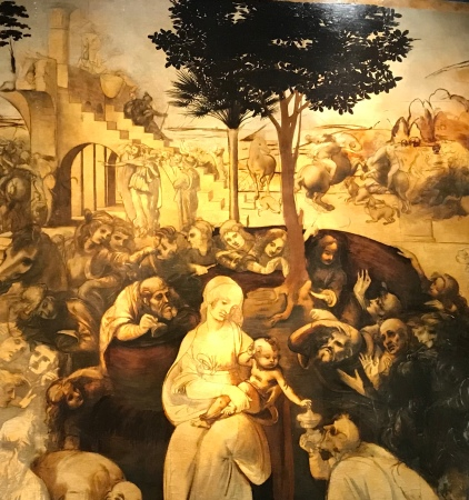 Leonard de Vinci (1452-1519) L'adoration des Mages détail de cette peinture revenue aux Offices après 6 ans de restauration.